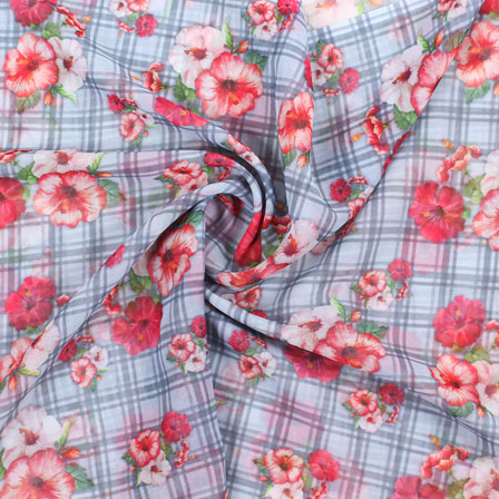 Gray Red and White Flower Georgette Silk Fabric-15092